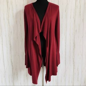 WHBM open waterfall cardigan with bell sleeves S
